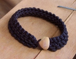 Knitted Leather Bracelet with Seashell Toggle