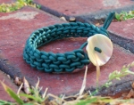 Knitted Leather Bracelet Vintage Button Clasp
