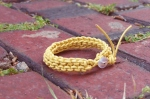 Knitted Leather Bracelet with Vintage Button Clasp