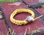 Knitted Leather Bracelet with Found Seashell Clasp