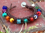 Knitted Leather Bracelet with Rainbow Glass Beads