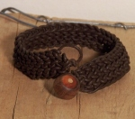 Knitted Leather Bracelet with Handmade Inlaid Wood Bead Toggle